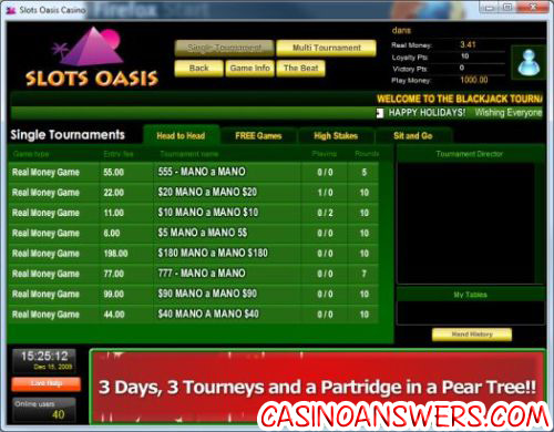 slots oasis blackjack tournament