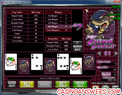 7 stud video poker