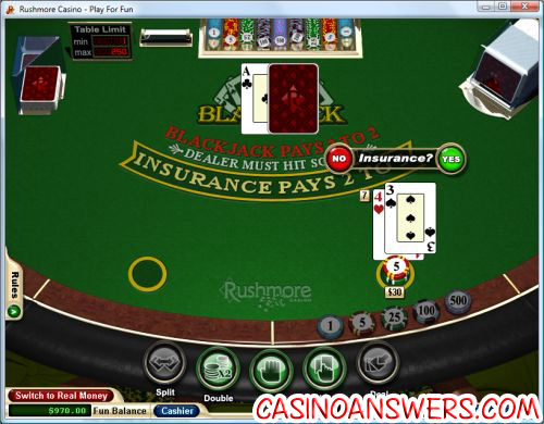 blackjack online insurance bet