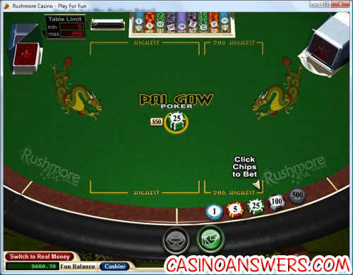 pai gow poker table demo
