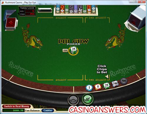 pai gow poker table demo