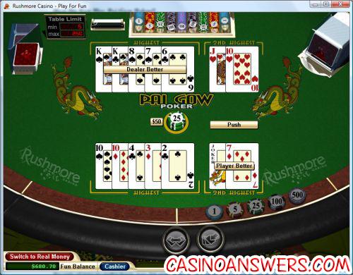 pai gow poker final hand demonstration