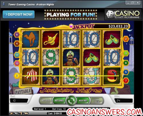 arabian nights progressive jackpot slot