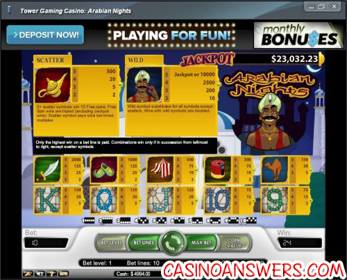 arabian nights progressive jackpot bonus game