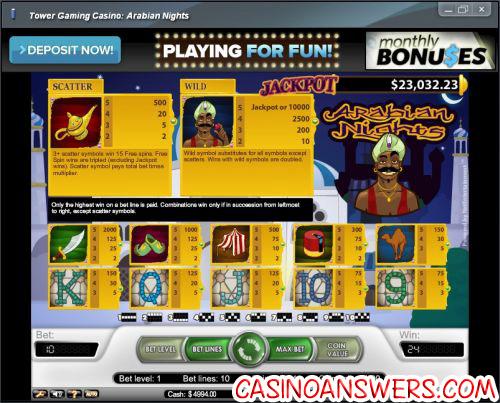 arabian nights progressive jackpot bonus game