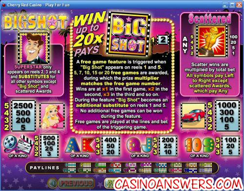 big shot rtg bonus game
