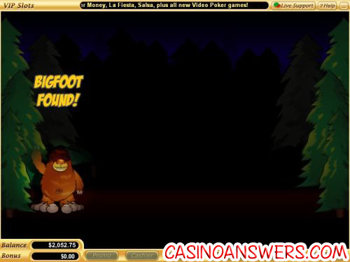 big foot video slot bonus game