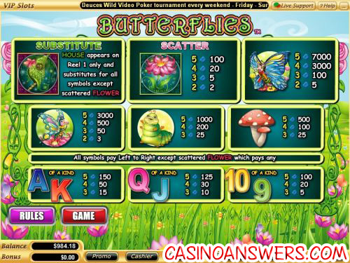butterflies video slot 2