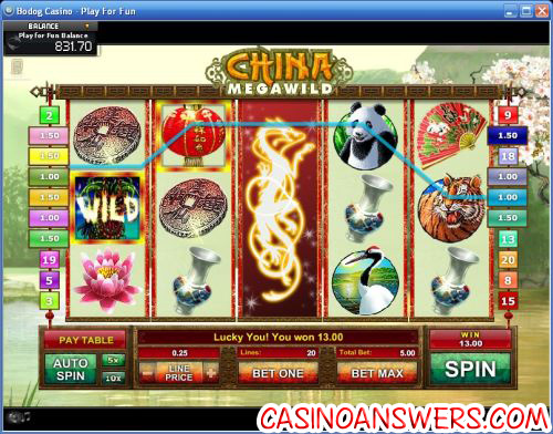 china megawild video slot