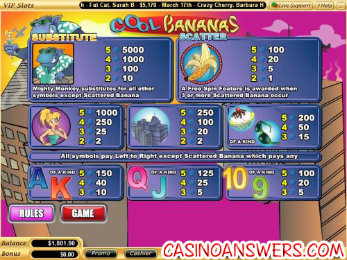 cool bananas bonus game slot free spins