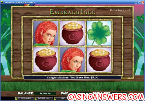 emerald isle video slot casino bonus game