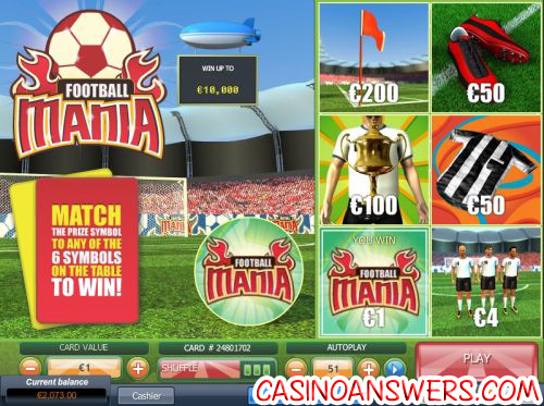 football mania scratch card instant win