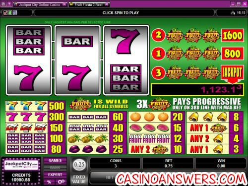 fruit fiesta 3 reel progressive jackpot