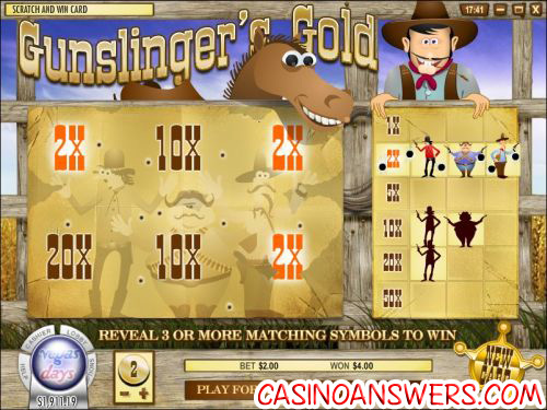 gunslingers gold scratch card