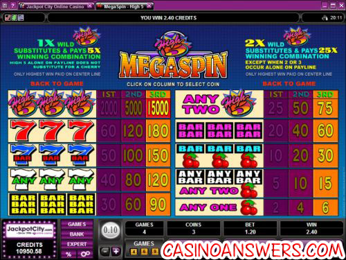 high 5 mega spin slot machine