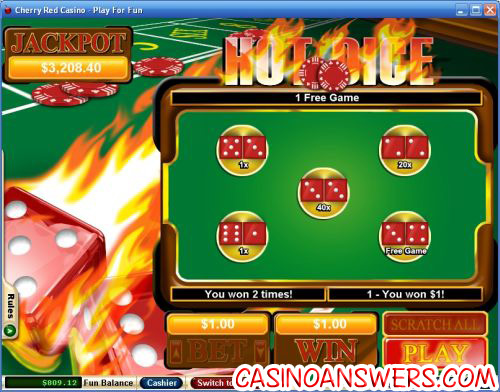 hot dice instant win scratch card