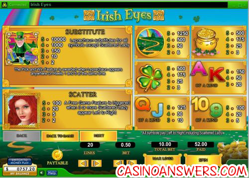 irish eyes casino bonus game