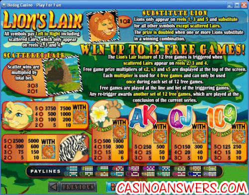 lions lair casino bonus game
