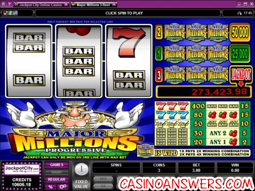 major millions 3 reel progressive jackpot slot machine