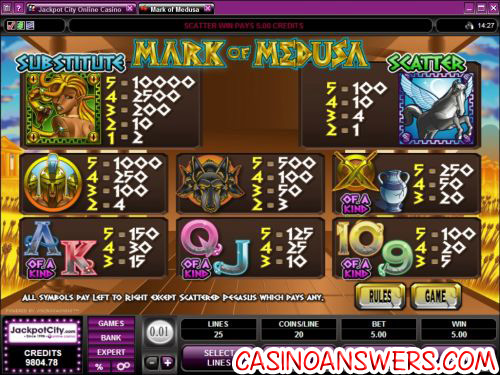 mark of medusa bonus game
