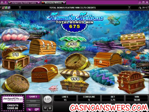 mermaids million casino bonus game