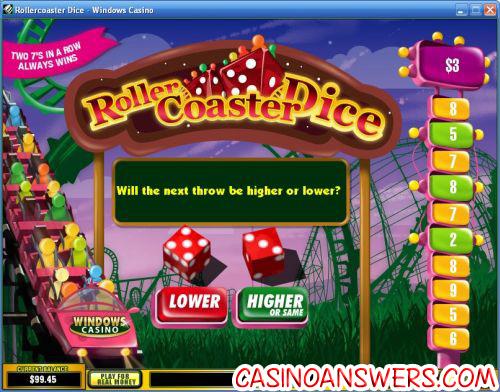 rollercoaster dice arcade game