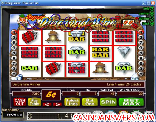 super diamond mine video slot