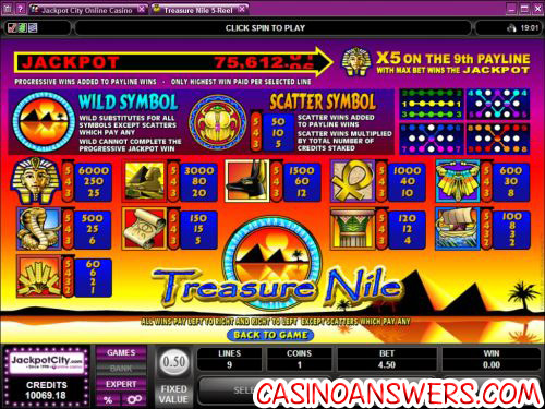 treasure nile progressive jackpot bonus game