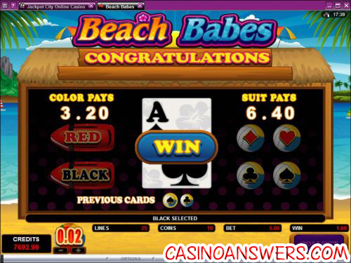 beach babes video slot bonus game