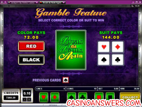 break da bank again video slot bonus game
