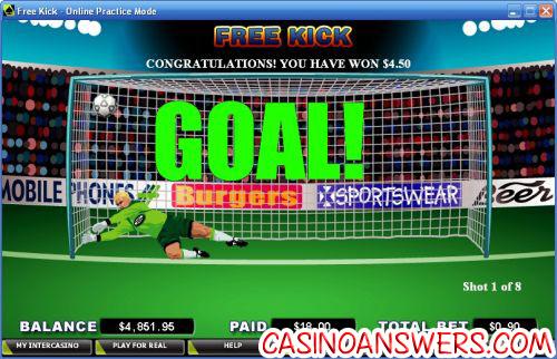 free kick casino game