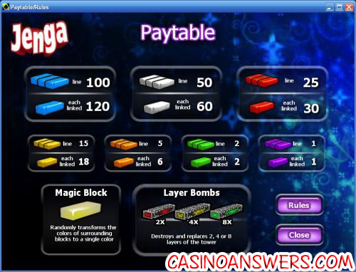 jenga casual slot payouts