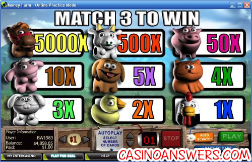 money farm instant win scratch card