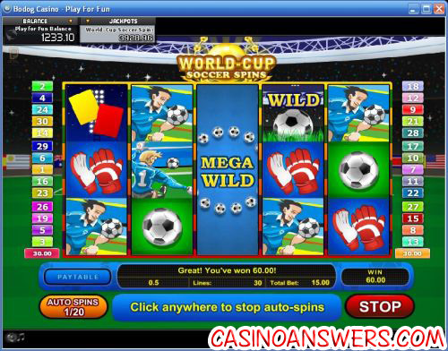 world cup soccer spins slot machine