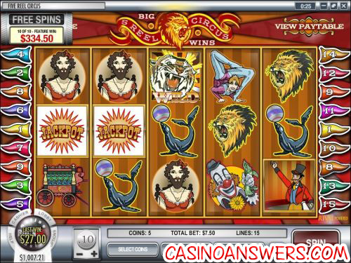 5 reel circus video slot