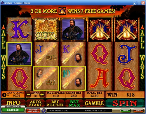archer video slot