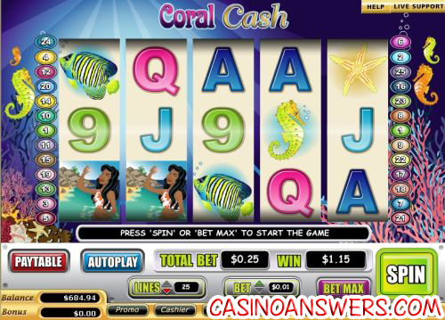 coral cash video slot