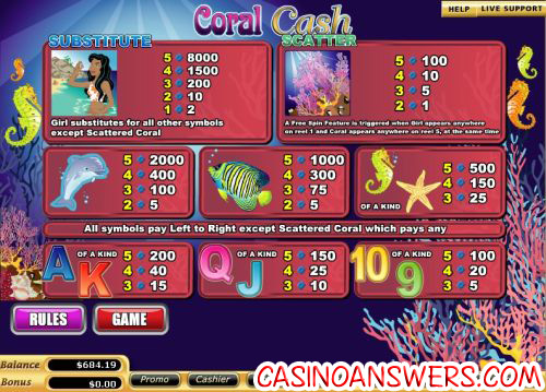 coral cash bonus game