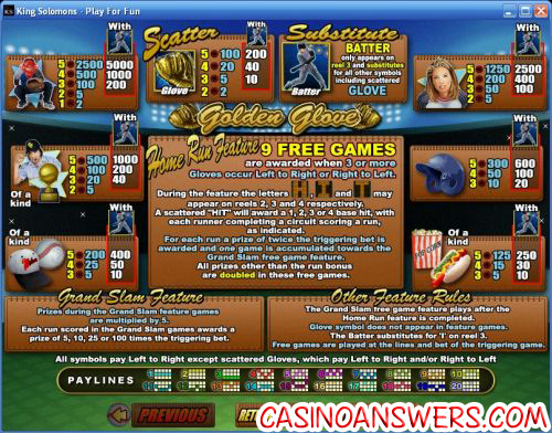 golden glove video slot