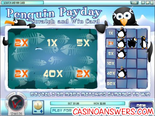 penguin payday instant win scratch card