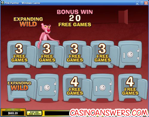 pink panther casino bonus game