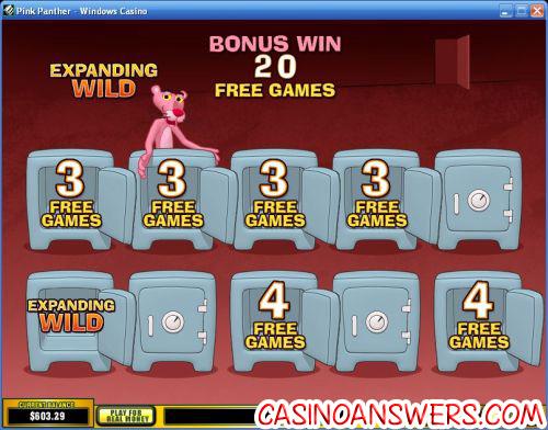 pink panther casino bonus game