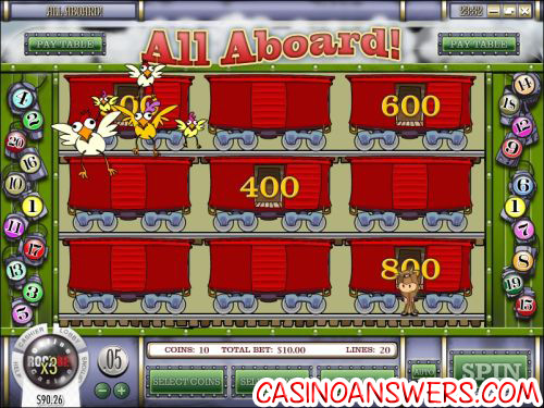 all aboard video slot bonus game