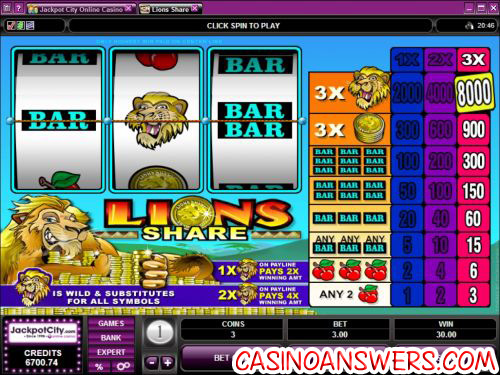 lions share classic slot flash game