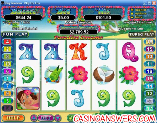 paradise dreams video slot