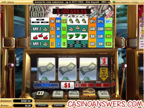 pay dirt video slot progressive jackpot