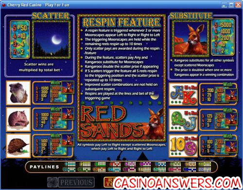 red sands video slot payout review