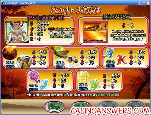 samba nights bonus game