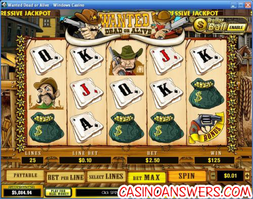 wanted dead or alive video slot