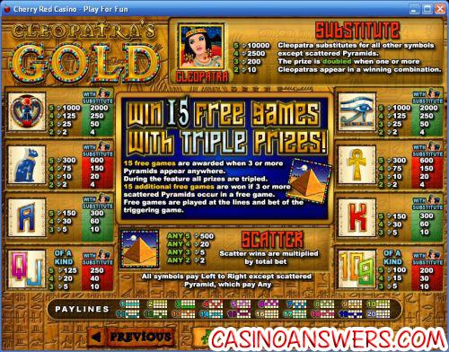 cleopatras casino game